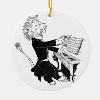 Lion Playing Piano Antique Louis Wain Drawing Ceramic Ornament