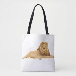 Lion polygon art illustration tote bag