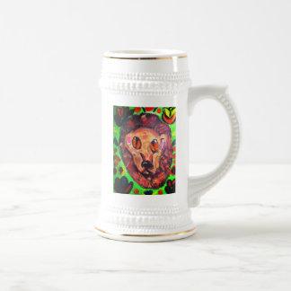 Lion portrait art beer stein