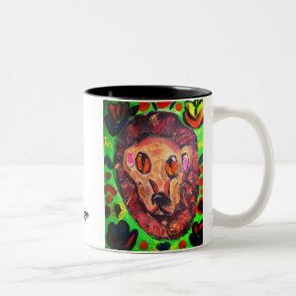 Lion portrait art Two-Tone coffee mug