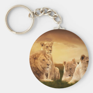 Lion pride basic round button key ring