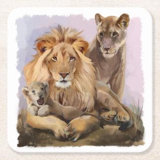 Lion pride square paper coaster