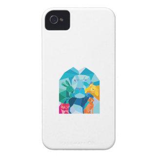 Lion Rabbit Cat Horse Dog Goat Low Polygon iPhone 4 Cases