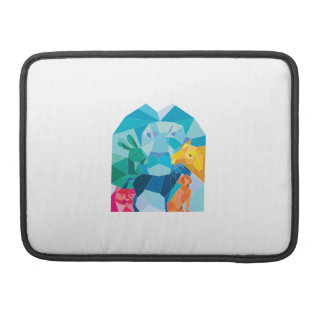 Lion Rabbit Cat Horse Dog Goat Low Polygon Sleeve For MacBooks