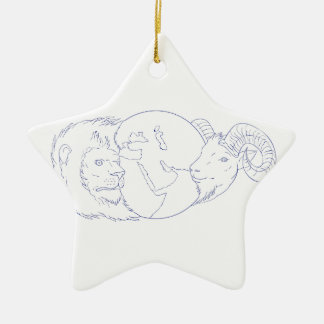 Lion Ram Globe Middle East Drawing Ceramic Ornament