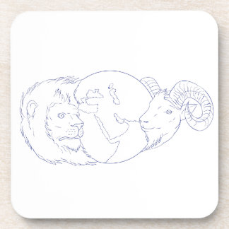 Lion Ram Globe Middle East Drawing Coaster