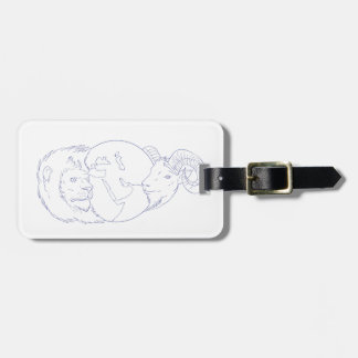 Lion Ram Globe Middle East Drawing Luggage Tag