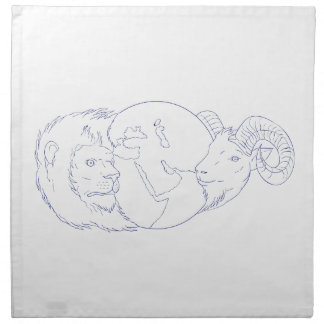 Lion Ram Globe Middle East Drawing Napkin