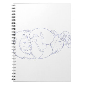 Lion Ram Globe Middle East Drawing Notebook