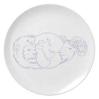 Lion Ram Globe Middle East Drawing Plate