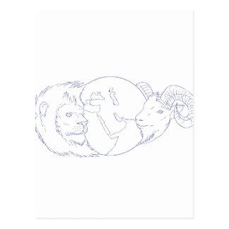 Lion Ram Globe Middle East Drawing Postcard