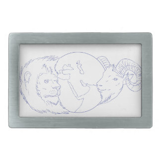 Lion Ram Globe Middle East Drawing Rectangular Belt Buckle