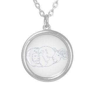 Lion Ram Globe Middle East Drawing Silver Plated Necklace