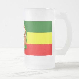 Lion rasta frosted glass beer mug