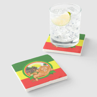 Lion rasta stone beverage coaster