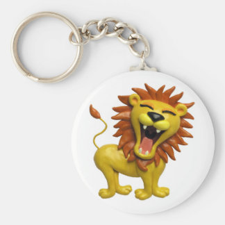 Lion Roaring Basic Round Button Key Ring