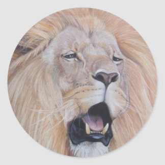 lion roaring big cat wildlife realist art classic round sticker