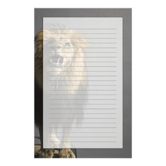 Lion roaring personalized stationery