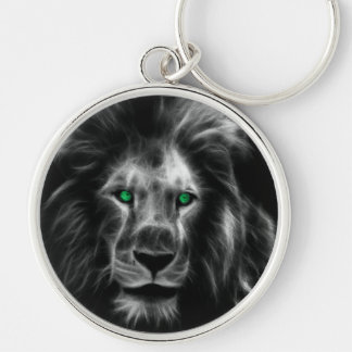 Lion Silver-Colored Round Key Ring