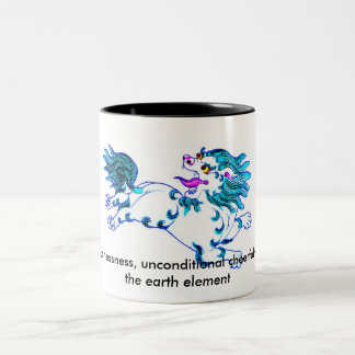 lion, Snow Lion: fearlessness, unconditional ch... Two-Tone Mug