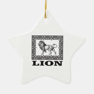 lion stamp ceramic ornament