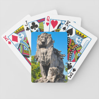 Lion statue bicycle playing cards