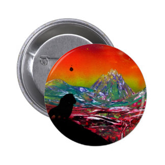 Lion Sunset Landscape Spray Paint Art Painting 6 Cm Round Badge