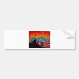 Lion Sunset Landscape Spray Paint Art Painting Bumper Sticker