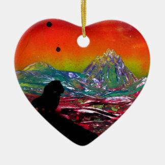 Lion Sunset Landscape Spray Paint Art Painting Ceramic Ornament