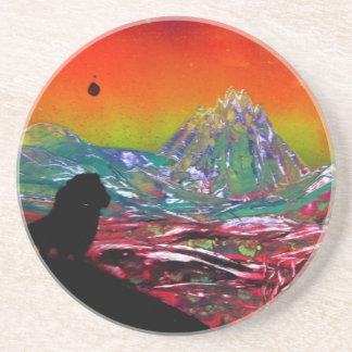 Lion Sunset Landscape Spray Paint Art Painting Coaster
