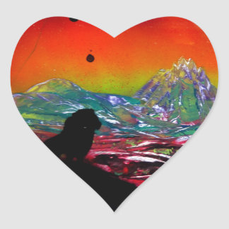 Lion Sunset Landscape Spray Paint Art Painting Heart Sticker