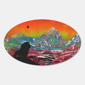 Lion Sunset Landscape Spray Paint Art Painting Oval Sticker