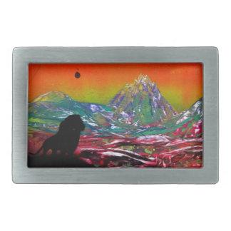 Lion Sunset Landscape Spray Paint Art Painting Rectangular Belt Buckle