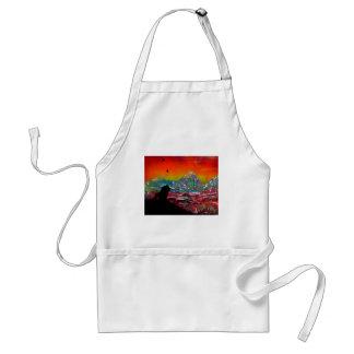 Lion Sunset Landscape Spray Paint Art Painting Standard Apron