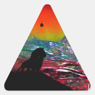 Lion Sunset Landscape Spray Paint Art Painting Triangle Sticker
