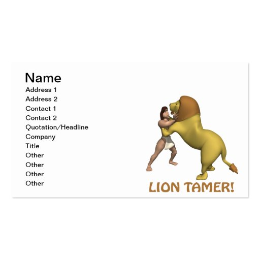 Lion Tamer Business Cards