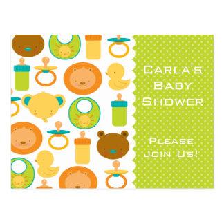 Lion & Teddy Bear Baby Shower Invitation Postcard