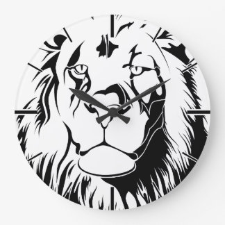 Lion Tribal 002 Large Clock