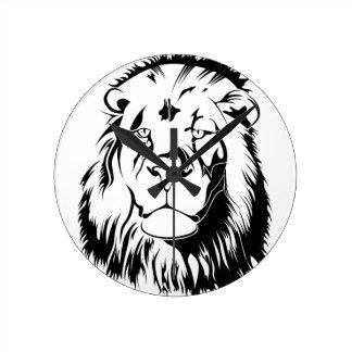 Lion Tribal 002 Round Clock