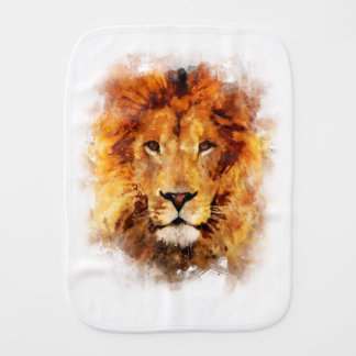 Lion Watercolor Burp Cloth