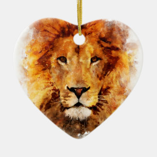 Lion Watercolor Ceramic Ornament