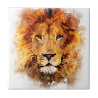 Lion Watercolor Ceramic Tile