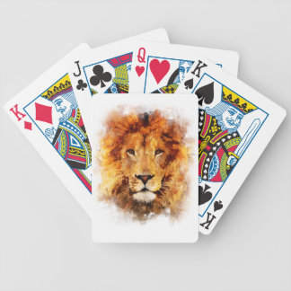 Lion Watercolor Poker Deck