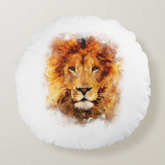 Lion Watercolor Round Cushion