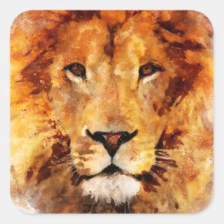 Lion Watercolor Square Sticker