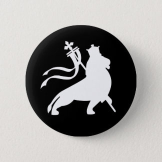 lion (white on black) 6 cm round badge