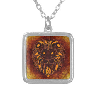 Lion wild animal abstract silver plated necklace