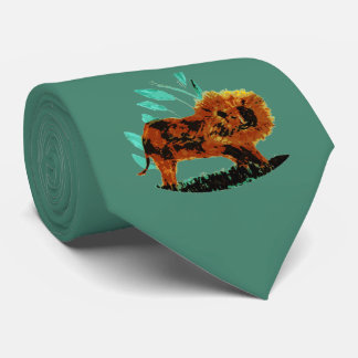 Lion Wildlife Art Tie