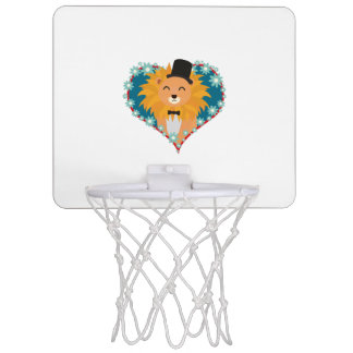 Lion with hat in flower heart Zdjpd Mini Basketball Hoop