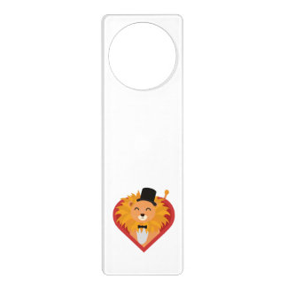 Lion with Hat in heart Zjrz1 Door Hanger